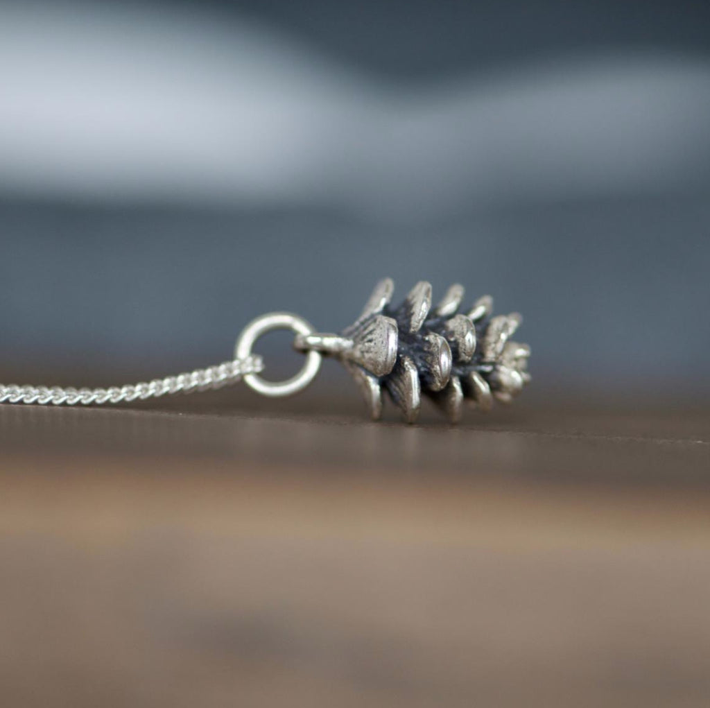 Tiny Pinecone Charm Necklace - Justine Brooks