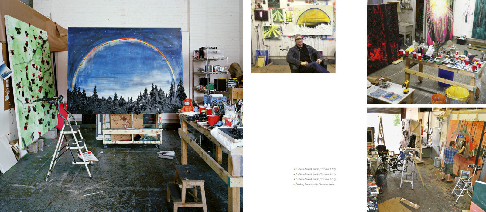 Sample page from Canadian art book Kim Dorland with four studio shots.