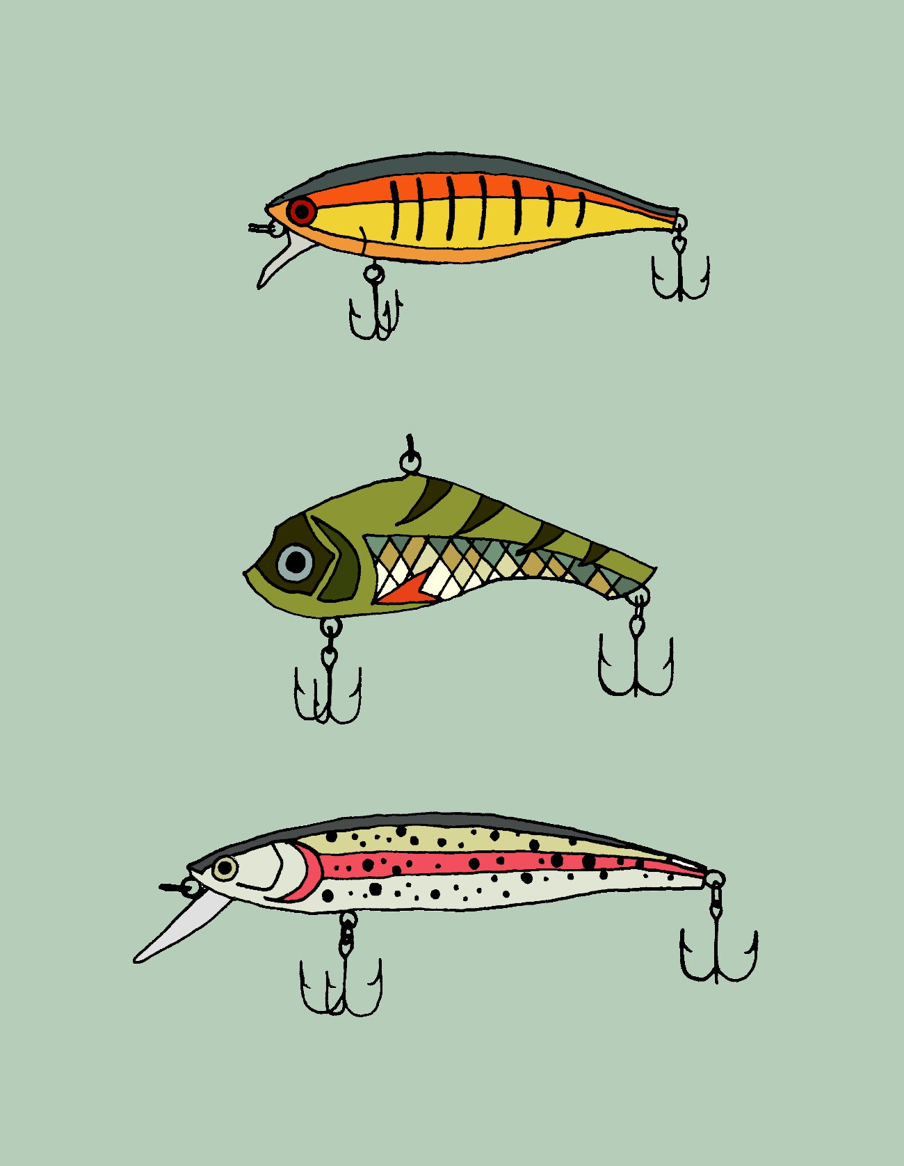 Made in Canada greeting with drawing of three fishing lures with varying colours and designs. No caption.