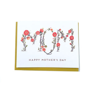 Canadian made Mother's Day card with the word MOM spelled out with pink flowers, and the caption Happy Mother's Day underneath.