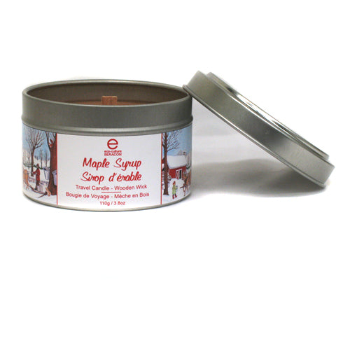 Made in Canada maple syrup travel size tin candle with wooden wick.