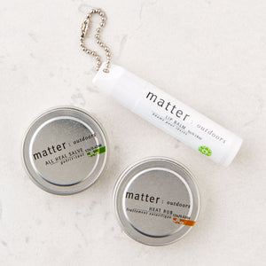 Made in Canada natural day pack with all heal salve, heat rub and lip balm by Matter Outdoors.