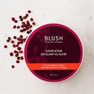 Made in Canada Matter Company Blush sugar scrub with sumac berries and vanilla.