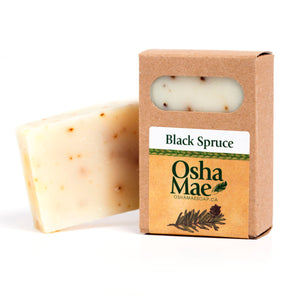 Canadian made natural soap with black spruce essential oils.