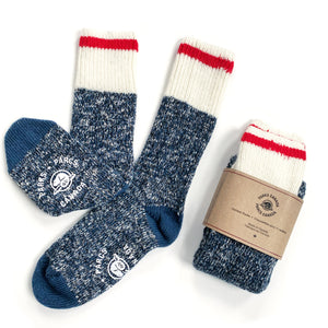 Parks Canada blue outdoor camping socks with white top and red stripe.