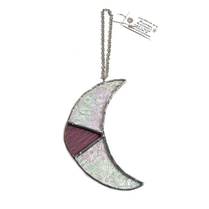 Stained Glass Crescent Moon - Pink - Penumbra Glassworks