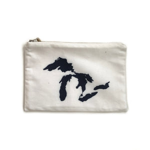 Made in Canada organic cotton and hemp soft case with blue Great Lakes print.