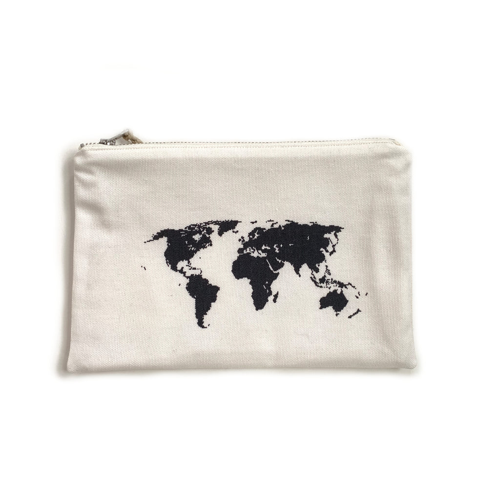 Made in Canada cotton and hemp pouch with world map print