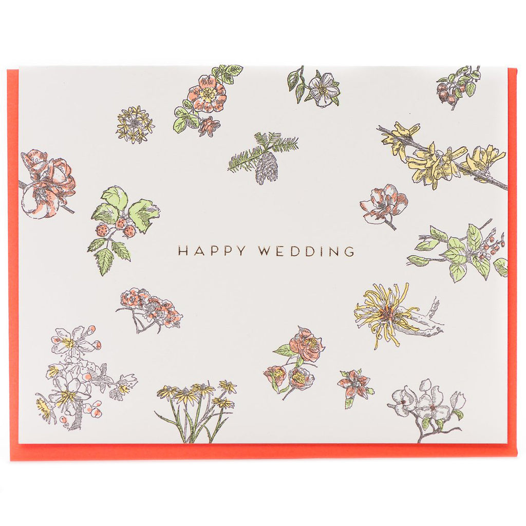 """Happy Wedding Floral"" Wedding Card - Porchlight Press"
