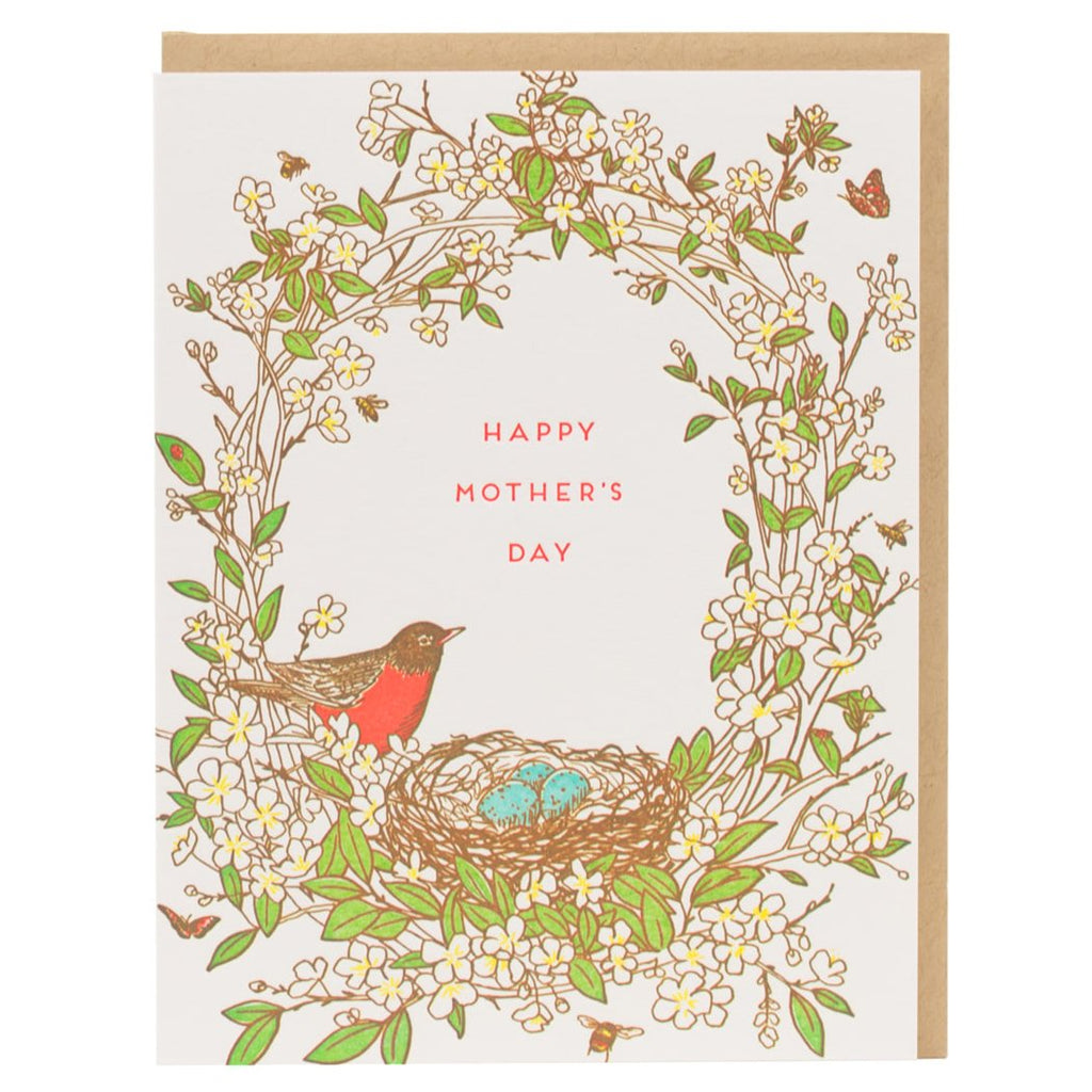 """Robin Bird Nest"" Mother's Day Card - Porchlight Press"