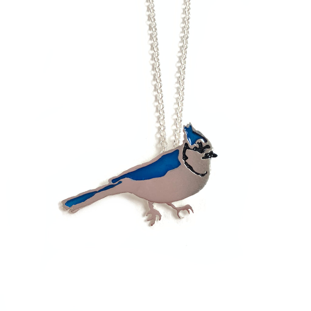 Made in Canada sterling silver bluejay necklace with blue and black enamel accents.