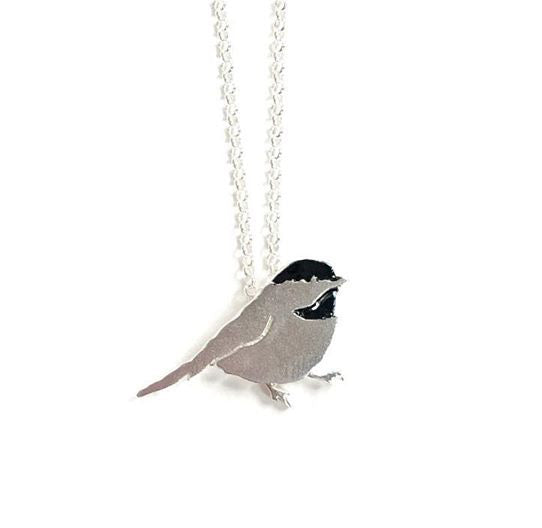 Made in Canada sterling silver chickadee necklace with black enamel accent.