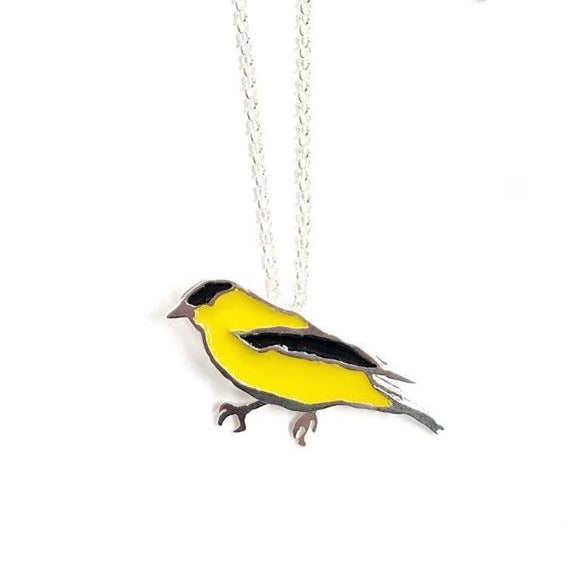 Made in Canada sterling silver goldfinch necklace with yellow and black painted enamel accents.
