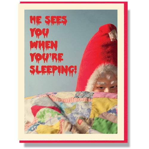 Creepy Santa Sleeping - Holiday Card - Smitten Kitten