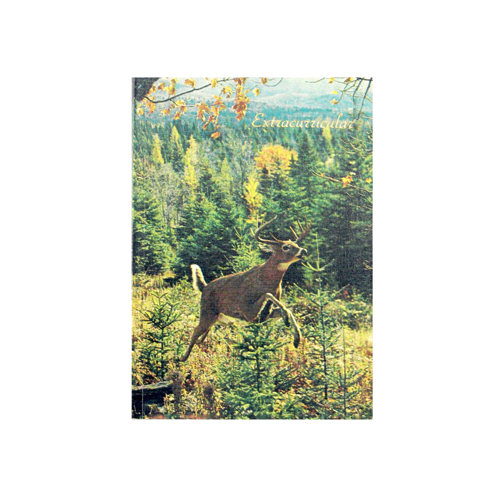 Canadian made notebook with a printed photograph of a prancing white tailed buck on the cover.
