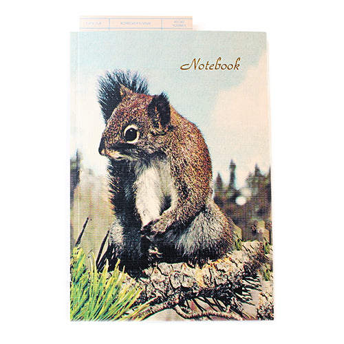 Canadian made notebook with a printed photograph of a squirrel on the cover.
