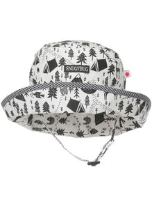 Made in Canada cotton baby sun hat with black and white camping trees and mountains print.
