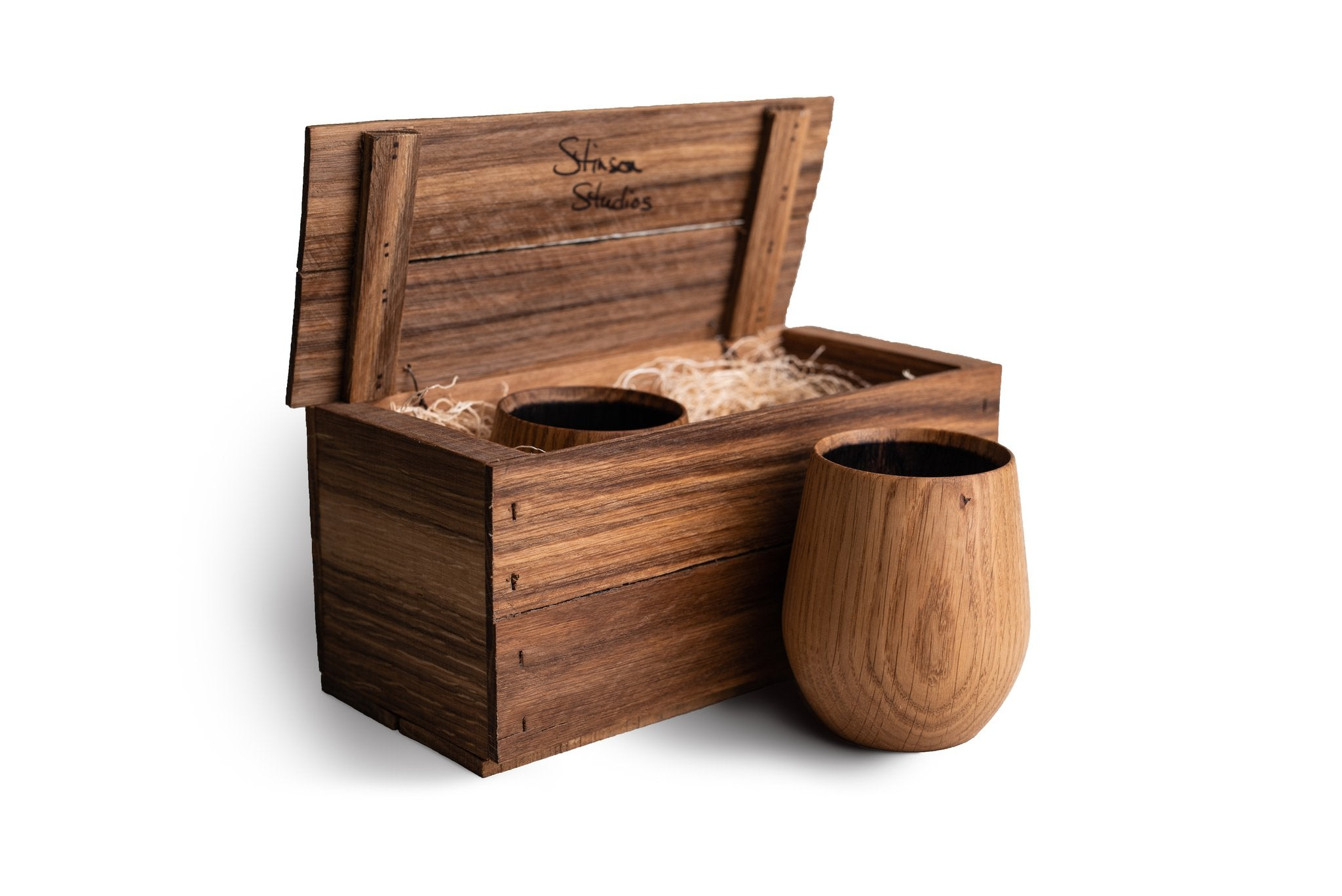 Wooden gift crate of two Made in Canada charred oak whiskey tumblers by Stinson Studios.