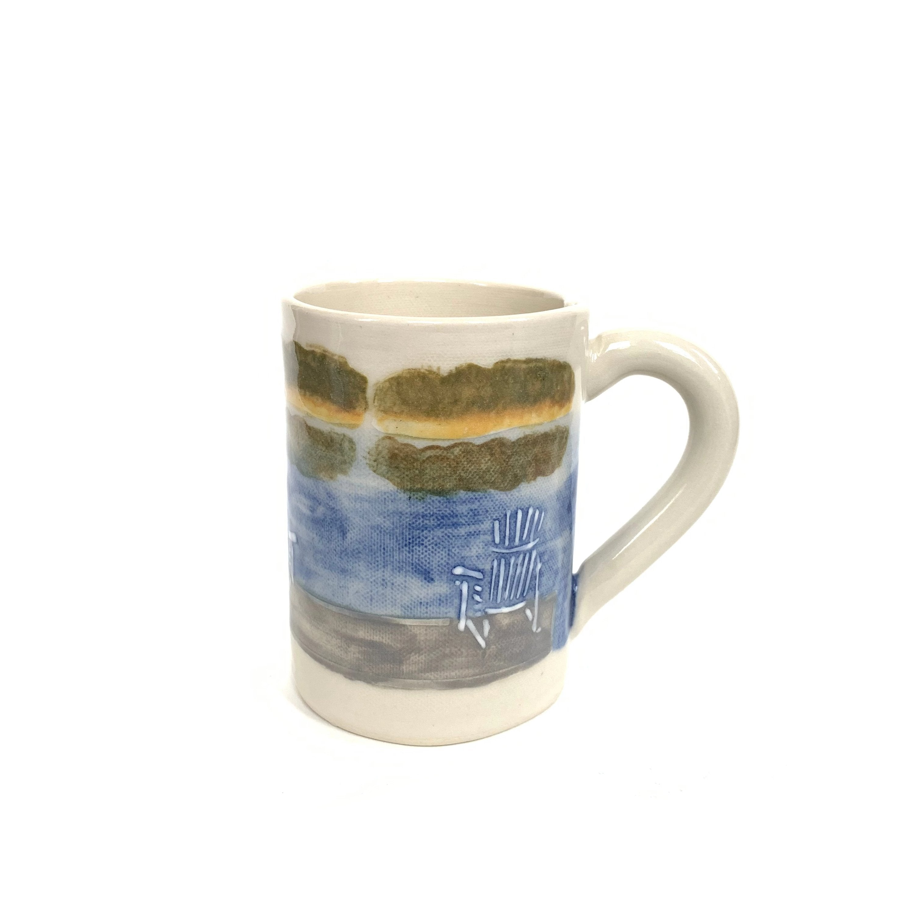 Made in Canada stoneware clay mug with hand painted Muskoka chair on the dock.