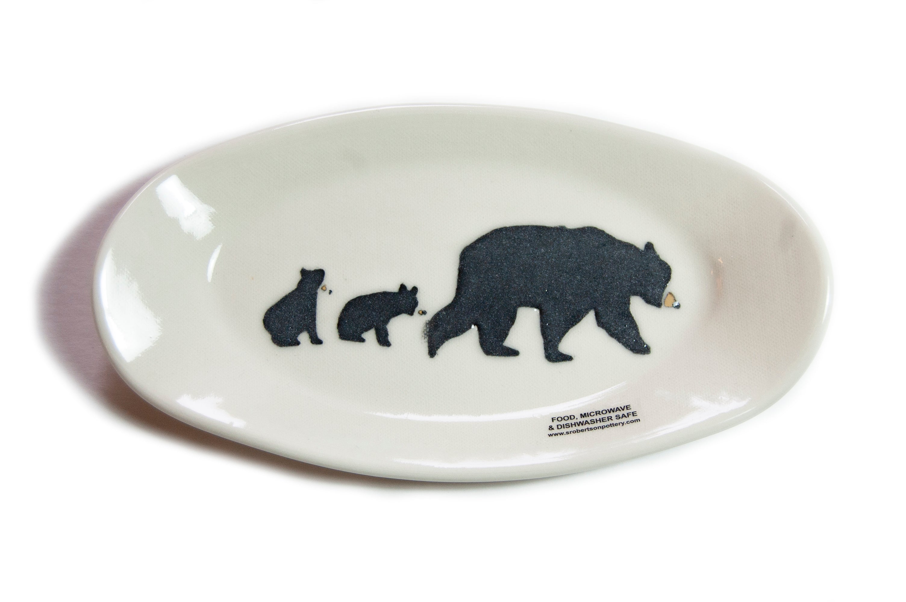Made in Canada Oval ceramic dish with hand painted black bear and cubs