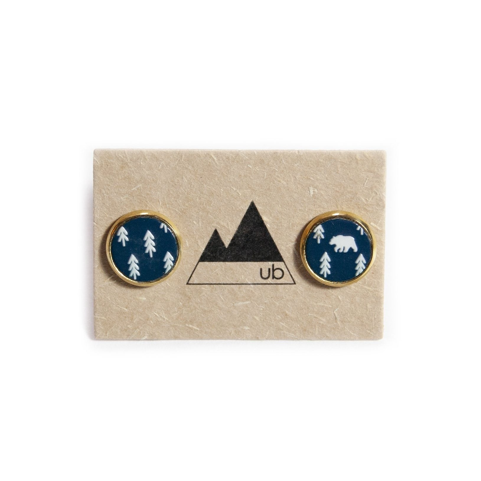 Day Hike Wood and Brass Stud Earrings - Ugly Bunny