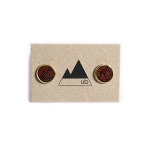 Ensley Wood and Brass Stud Earrings - Bloodwood - Ugly Bunny