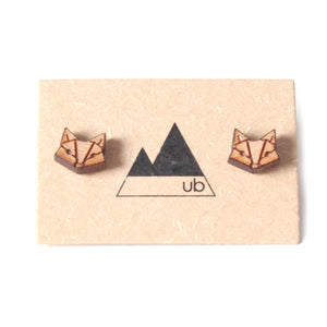 Made in Canada wood fox earrings.