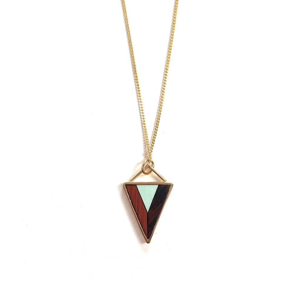 Made in Canada brass and wood geometric triangle necklace with turquoise accent.