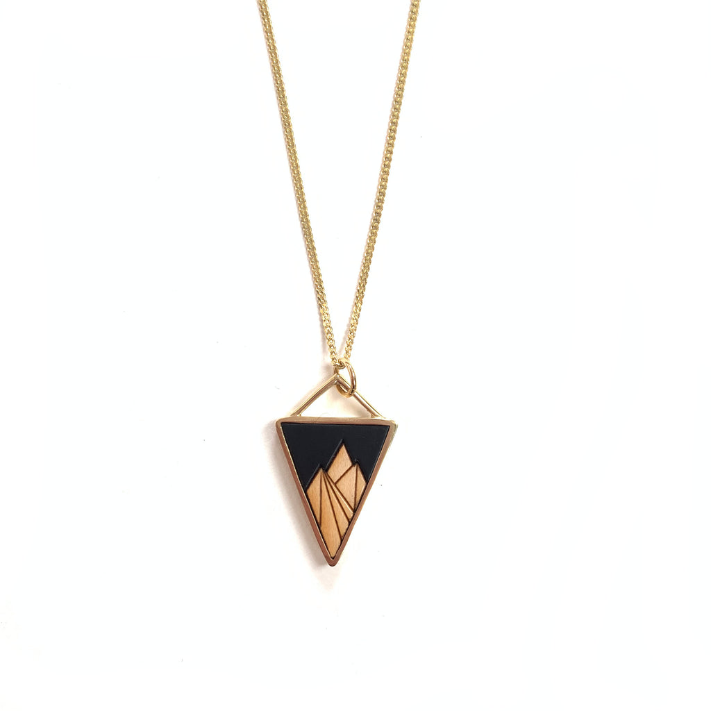 Made in Canada triangular brass and wood mountain necklace with black accent.
