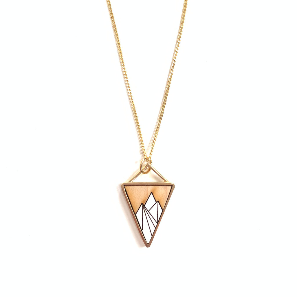 Made in Canada triangular brass and wood mountain necklace with white accent.