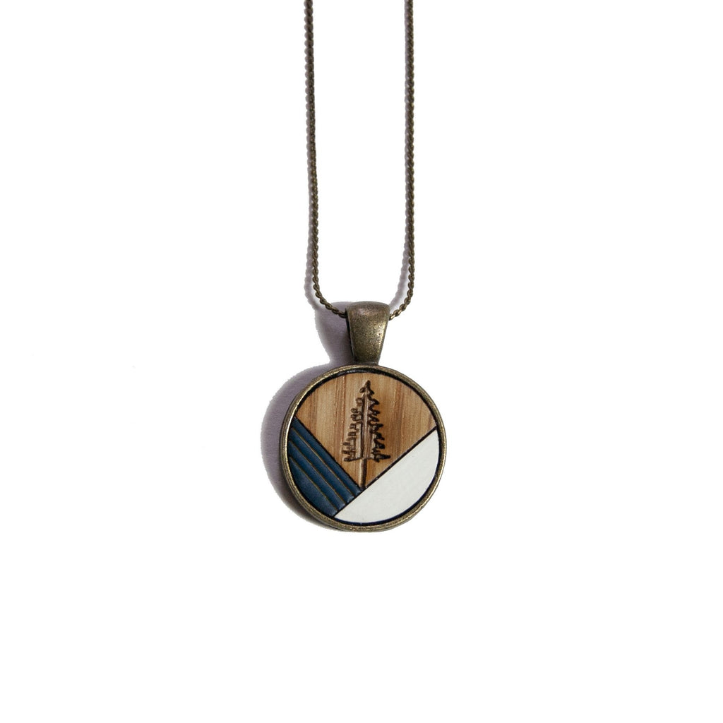 Fir Tree Wood & Brass Necklace - Navy - Ugly Bunny