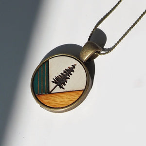 Fir Tree Wood & Brass Necklace - Forest Green - Ugly Bunny