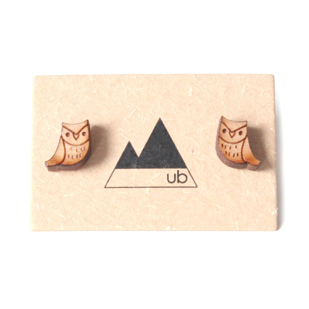Made in Canada wooden owl stud earrings.