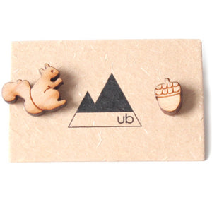 Made in Canada wood stud mismatch earrings with laser cut squirrel and acorn.