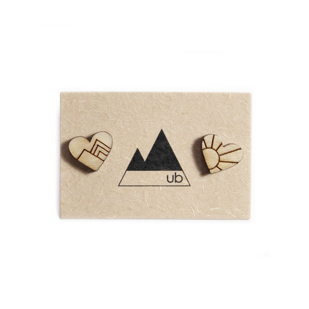 Mountain Love Wood Stud Earrings - Ugly Bunny