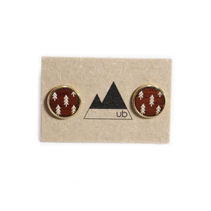 Forest Wood and Brass Stud Earrings - Ugly Bunny