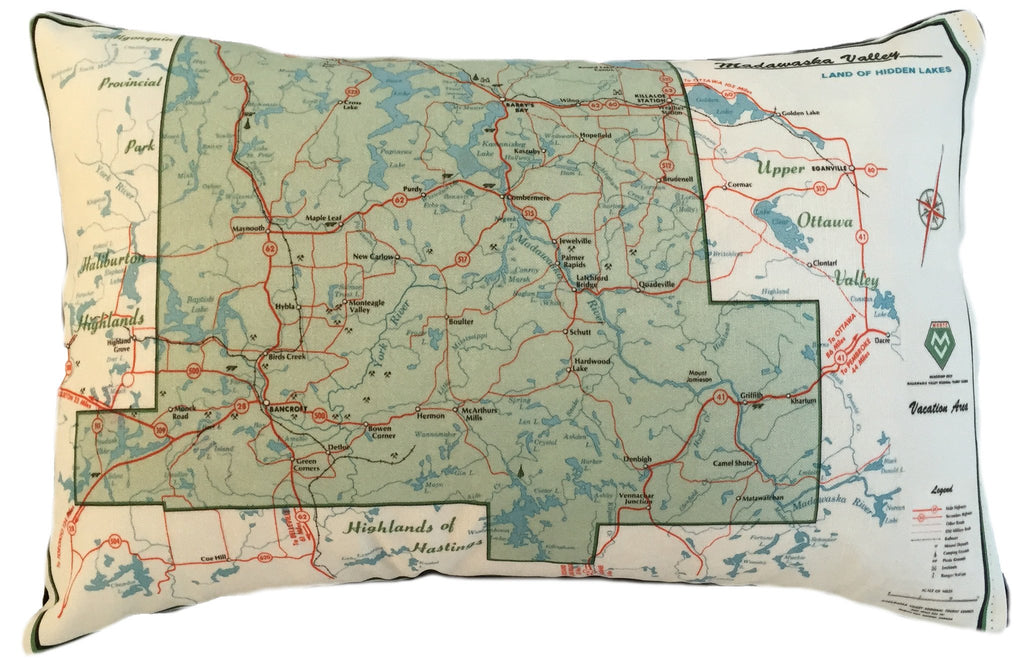 Made in Canada linen pillow case with hand printed vintage map of the Madawaska Valley in Northeastern Ontario, Canada.