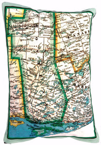 Made in Canada linen pillow case with hand printed vintage map of the Rideau Lakes region in eastern Ontario, Canada.