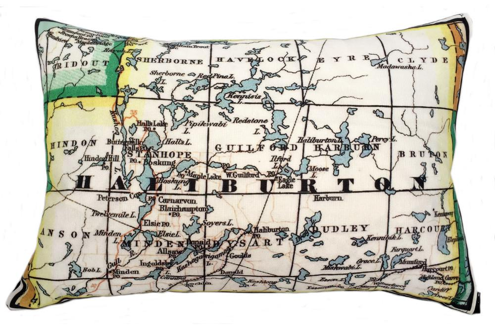 Made in Canada linen pillow case with hand printed vintage map of Haliburton cottage country in Ontario, Canada..