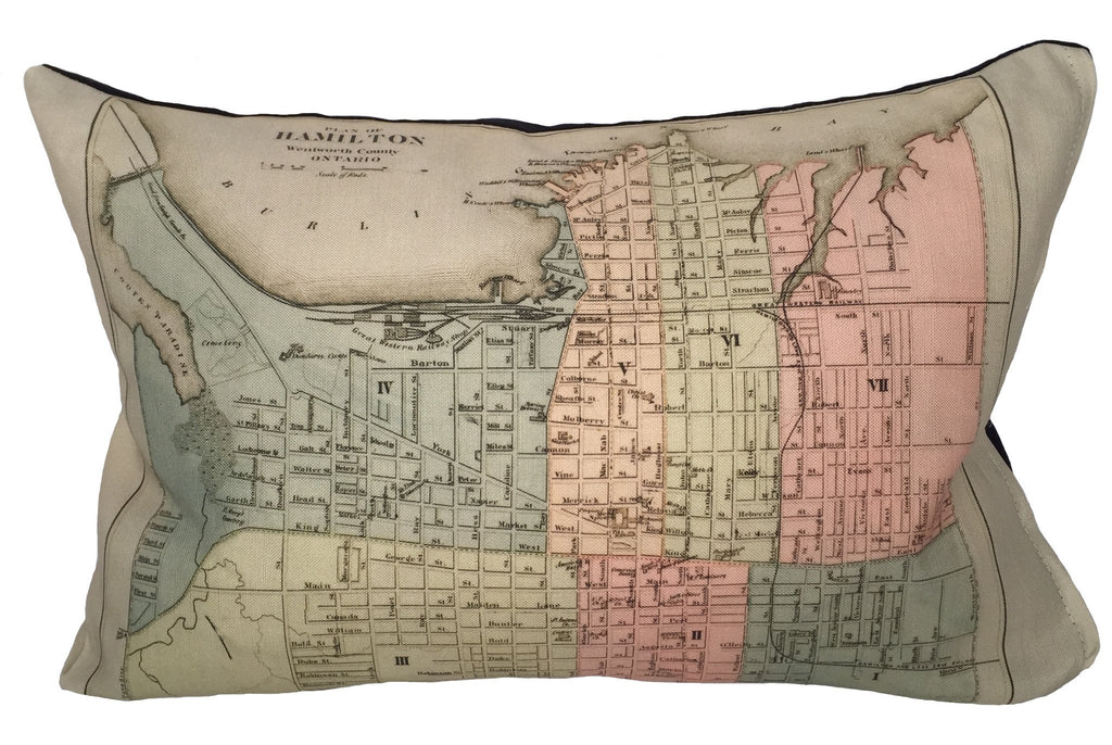 Made in Canada linen pillow case with hand printed vintage map of the city of Hamilton, Ontario, Canada.