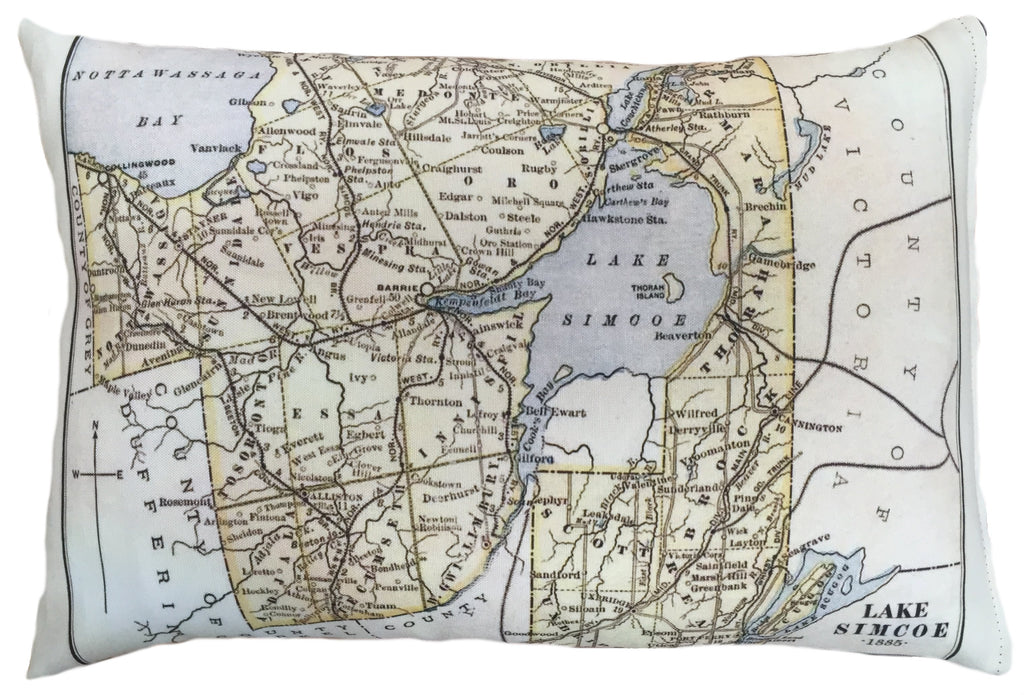 Made in Canada linen pillow case with hand printed vintage map of Lake Simcoe in Ontario.