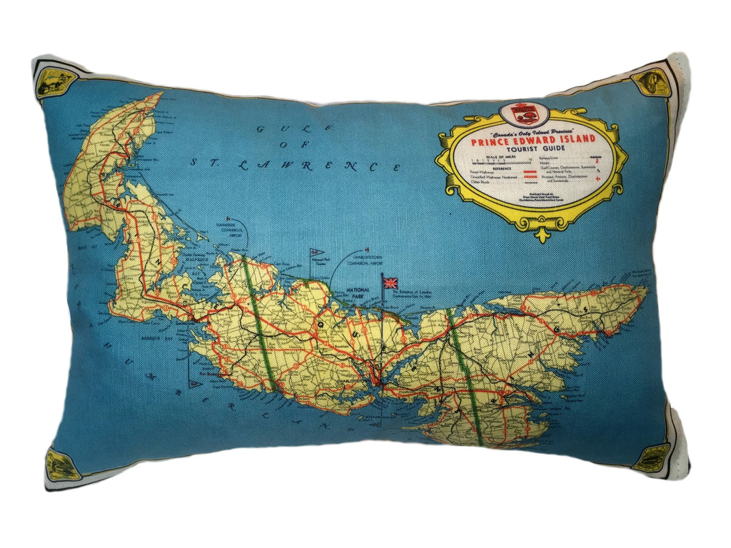 Made in Canada linen pillow case with hand printed vintage road map of Prince Edward Island and the Gulf of St Lawrence in eastern Atlantic Canada.