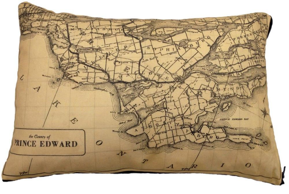 Made in Canada linen pillow case with hand printed vintage map of Prince Edward County in Ontario.