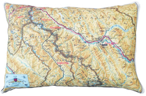 Made in Canada linen pillow case with hand printed vintage road and rail map of the Canadian Pacific Rocky Mountains in Alberta and British Columbia, includes Banff Springs and Jasper National Park.