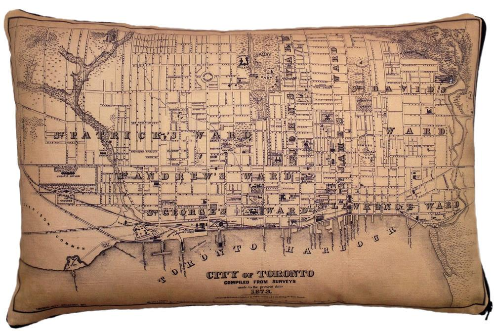 Made in Canada linen pillow case with hand printed vintage map of the City of Toronto, Ontario, Canada..