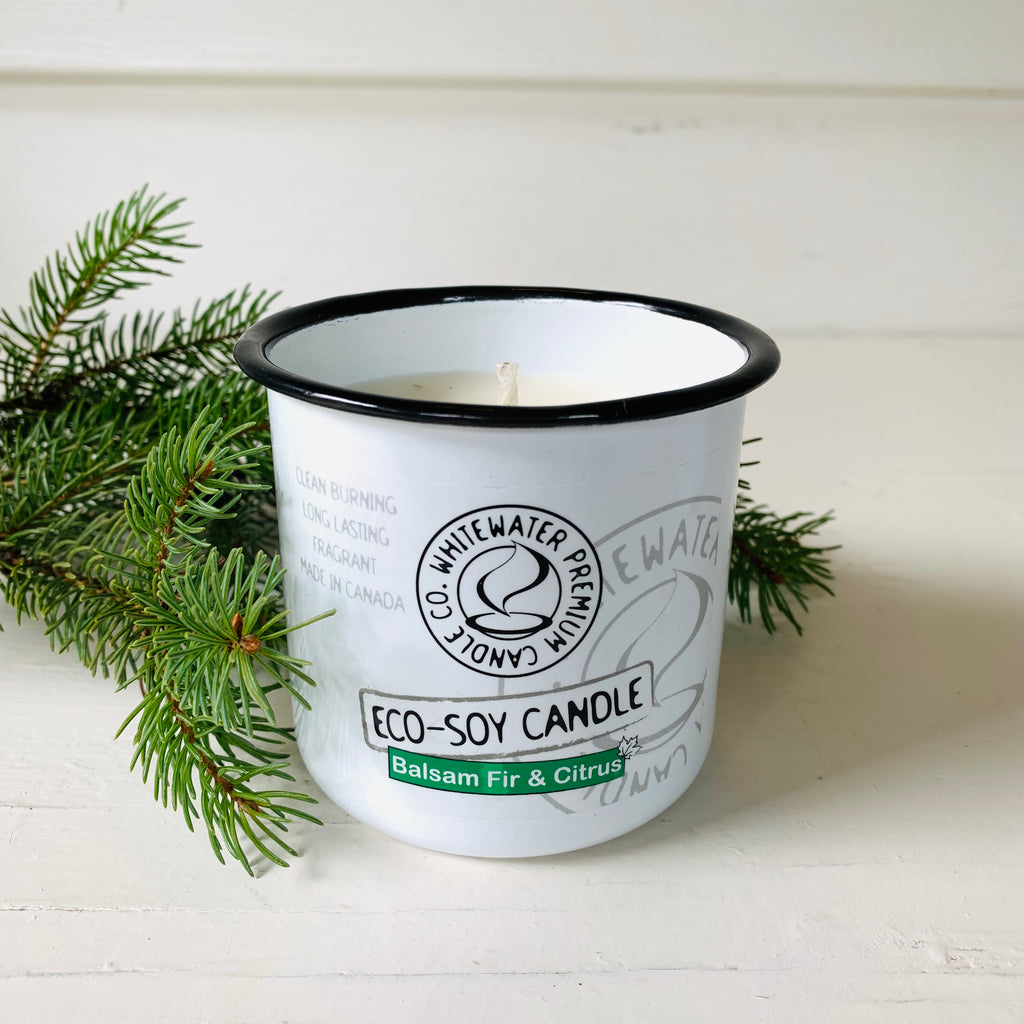 Canadian made eco soy balsam fir and citrus scented candle.