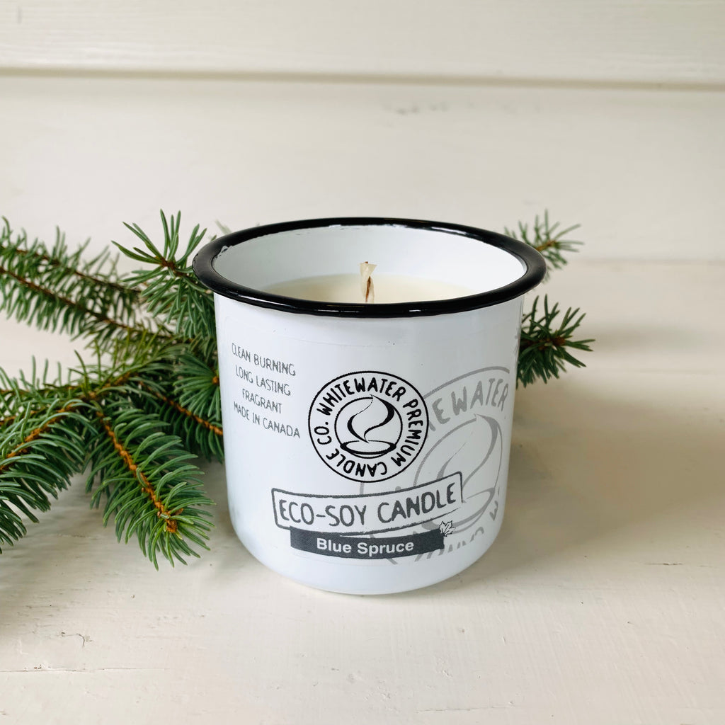 Canadian made natural eco soy Blue Spruce scented candle.