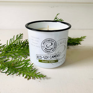 Canadian made natural eco soy candle, with cedar scent.
