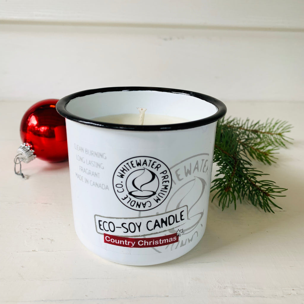 Made in Canada Eco Soy scented Candle in enamel jar . Country Christmas scent.