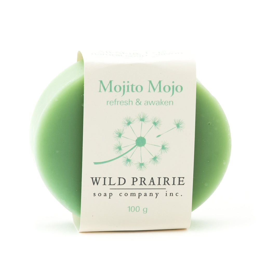 Canadian made Wild Prairie natural soap. Light green colour and smells like mojitos.